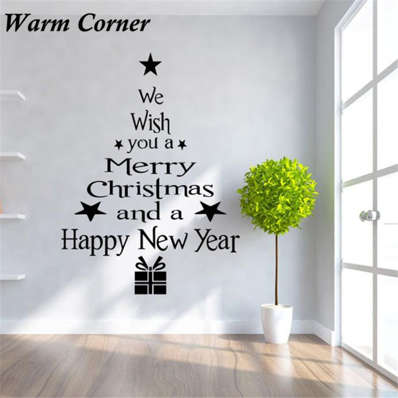 Glass Letters For Wall 3 Colors Christmas Tree Letter Sticker Wall Art Decal Bedroom