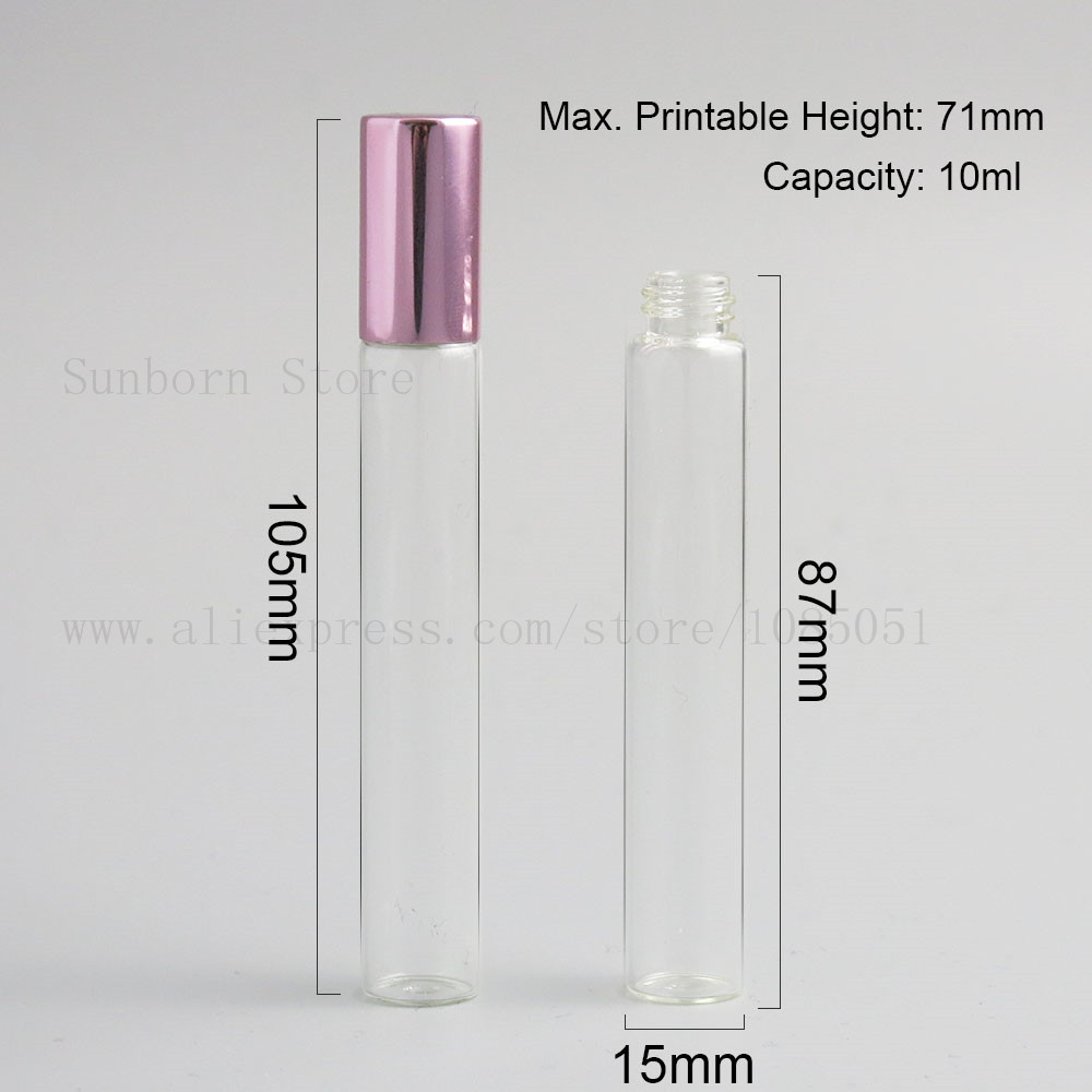 Купить с кэшбэком 5pcs 10ml clear Empty Roll On Bottle glass tube metal Ball e Liquid Essential Oil perfume With multicolor Cap