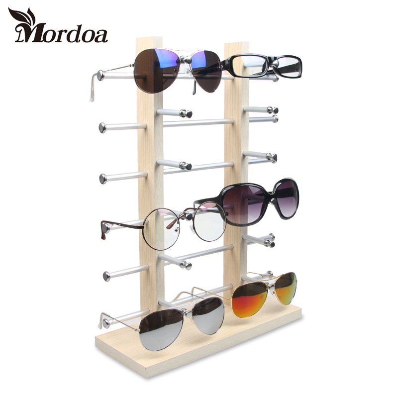 2017 Glasses Display Rack Wood Detachable Double Row Sunglasses Show Stand Receive Jewelry Eyeglasses Frame Display Shelf wood glasses frames carter sunglasses 2018 wooden sunglasses men clear gold retro fill prescription eyeglasses frame shades mens