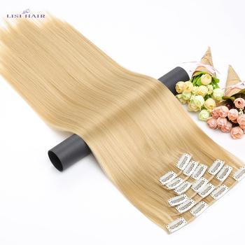 LISI HAIR Synthetic 16 klipsów do przedłużania włosów 56cm 24 Cal długie proste włosy fałszywe klipsy do włosów w klipsie do przedłużania włosów tanie i dobre opinie Wysokiej Temperatury Włókna 140 g zestaw 6 sztuk zestaw Pure color