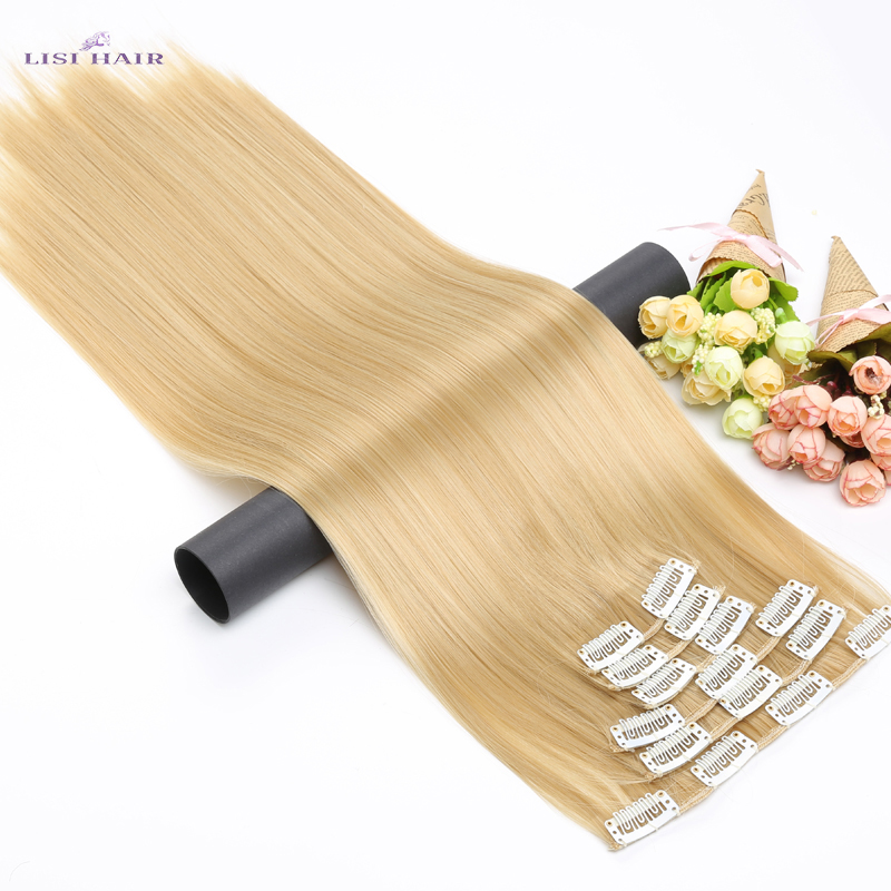 LISI HAIR Synthetic <font><b>16</b></font> Clips in Hair extension 56Cm 24 Inch Long Synthetic Fake False Hairpiece Clip In Hair Extension image