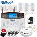 Беспроводная Проводная GSM сигнализация NiWoolf  домашняя охранная GSM сигнализация  дверной инфракрасный датчик движения  совместимая Беспрово...