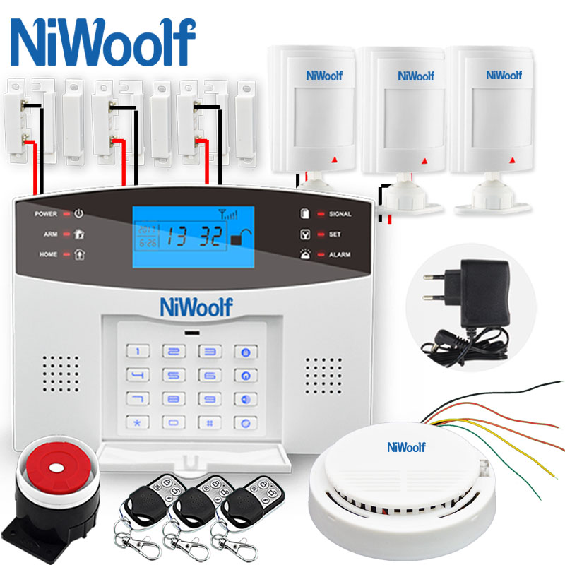 NiWoolf Wireless Wired GSM Alarm System Home Burglar GSM Alarm System Door Open Motion Infrared Sensor Compatible Wireless Siren