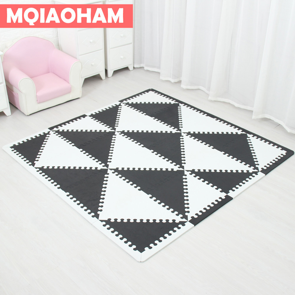 MQIAOHAM bébé EVA mousse de puzzle tapis de jeu/Verrouillage Exercices au sol Dalles de moquette, tapis pour enfants triangle 35 CM * 1 CM noir blanc