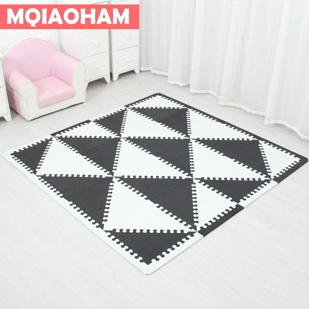 MQIAOHAM bébé EVA mousse puzzle tapis de jeu/entrelacement exercice tapis de sol carreaux, tapis pour enfants triangle 35 CM * 1 CM noir blanc
