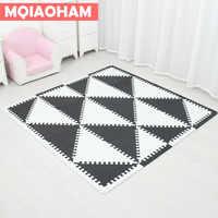 MQIAOHAM baby EVA foam puzzle play mat/ Interlocking Exercise floor carpet Tiles, Rug for kids triangle 35CM*1CM black white