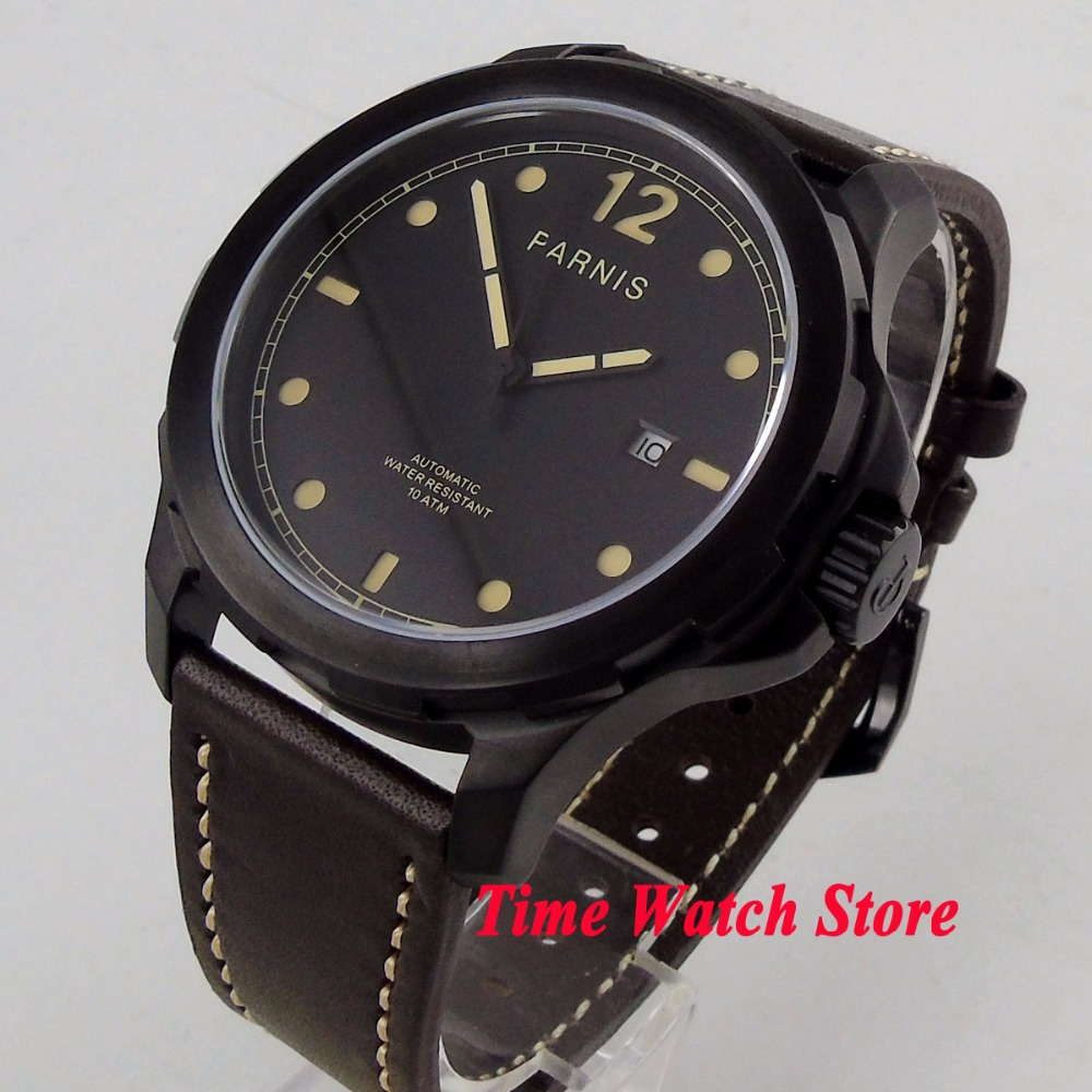 44mm Parnis watch black PVD case Sapphire glass black dial luminous 21 jewels MIYOTA Automatic movement Men's watch 1195 цена и фото