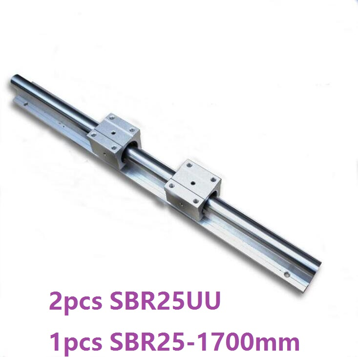 1pcs SBR25 - 1700mm linear guide support rail + 2pcs SBR25UU linear bearing blocks cnc router