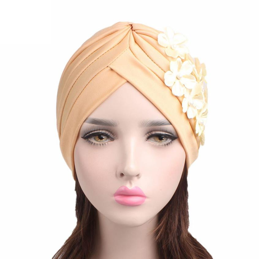 Agressief Muqgew Creatieve Effen Kleur Vrouwen Dames Boho Kanker Hoed Beanie Sjaal Tulband Head Wrap Cap Polyester Bloem Decoratie Voor Vrouwen Tuur 100% Garantie