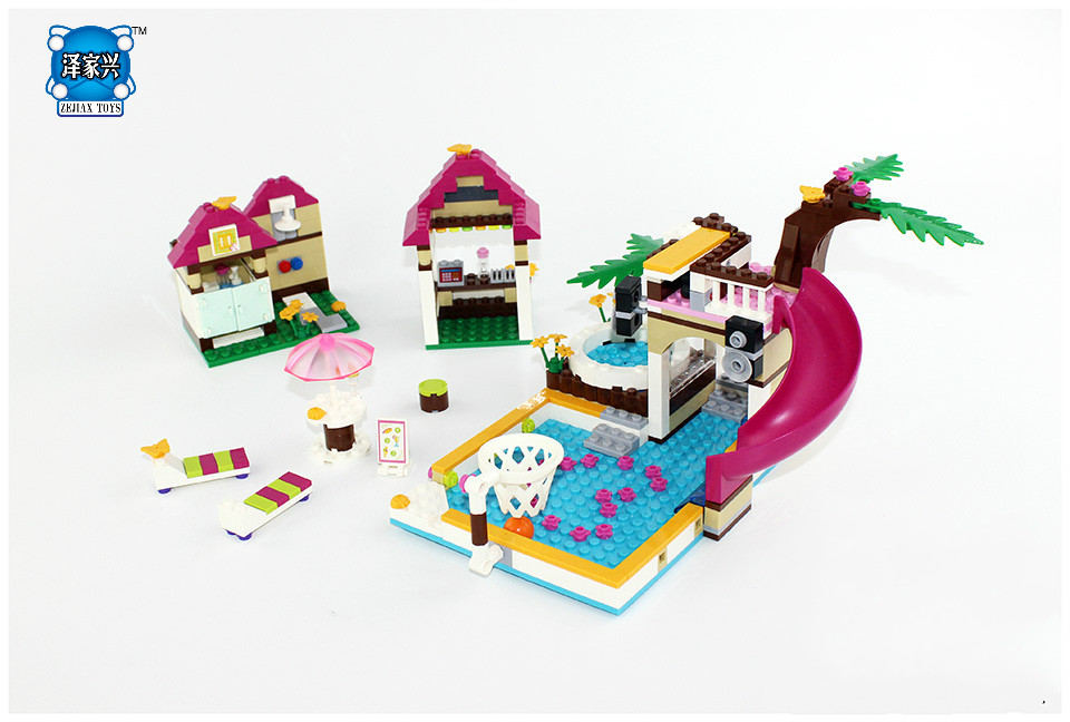 Hot Girl's Model Heartlake City Pool Building Blocks DIY Toys for Children BELA Compatible LEPIN Friends Bricks Figure Set compatible lepin city block police dog unit 60045 building bricks bela 10419 policeman toys for children 011