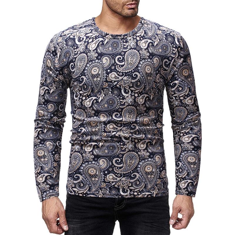 baf25945296d Mens Fashion Floral T Shirt Men Slim Fit Long Sleeve Casual Paisley Print T- shirt
