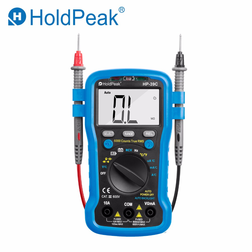 Digital Multimeter HoldPeak HP-39C Auto Range Tester AC/AC 6000 Counts True RMS NCV Ohm Frequency Diode transistor tester esr