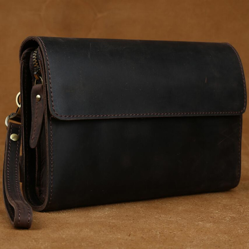 TIDING Mens Day Clutch Wallets Vintage Genuine Leather Organizer Wallet Business Solid Zipper Purse Brand Long Wallet Men