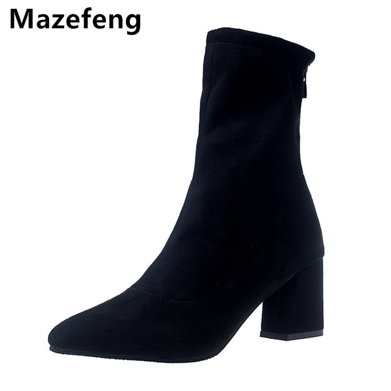 2017 Winter Female High-heeled Shoes Solid High quality Women Casual Boots Zipper Women Mid-Calf Boots Pointed Toe Martin Boots 2018 new vintage mid calf women boots square thick high heels pointed toe martin boots genuine leather winter shoes for women