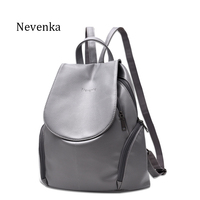 Nevenka New Arrival Women Bag Preppy Backpack PU Leather Fresh Zipper Bags Solid Pendants Casual Backpacks