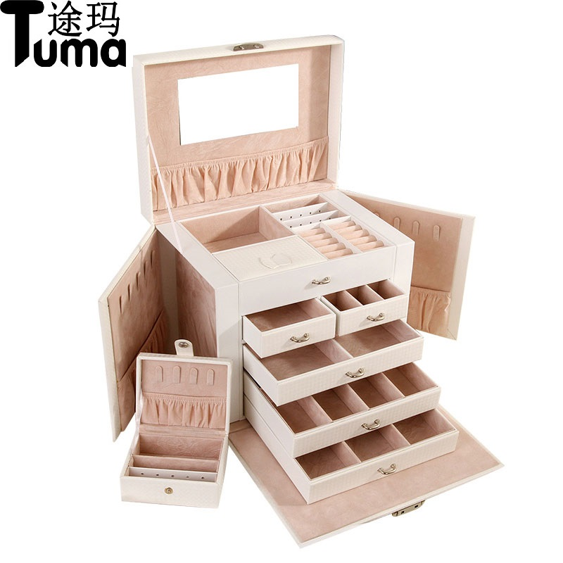 Classical Style Large Capacity Five Layers Super luxury Big Butterfly Leather Jewelry Box Cosmetic Box Jewel Storage Box jewel box
