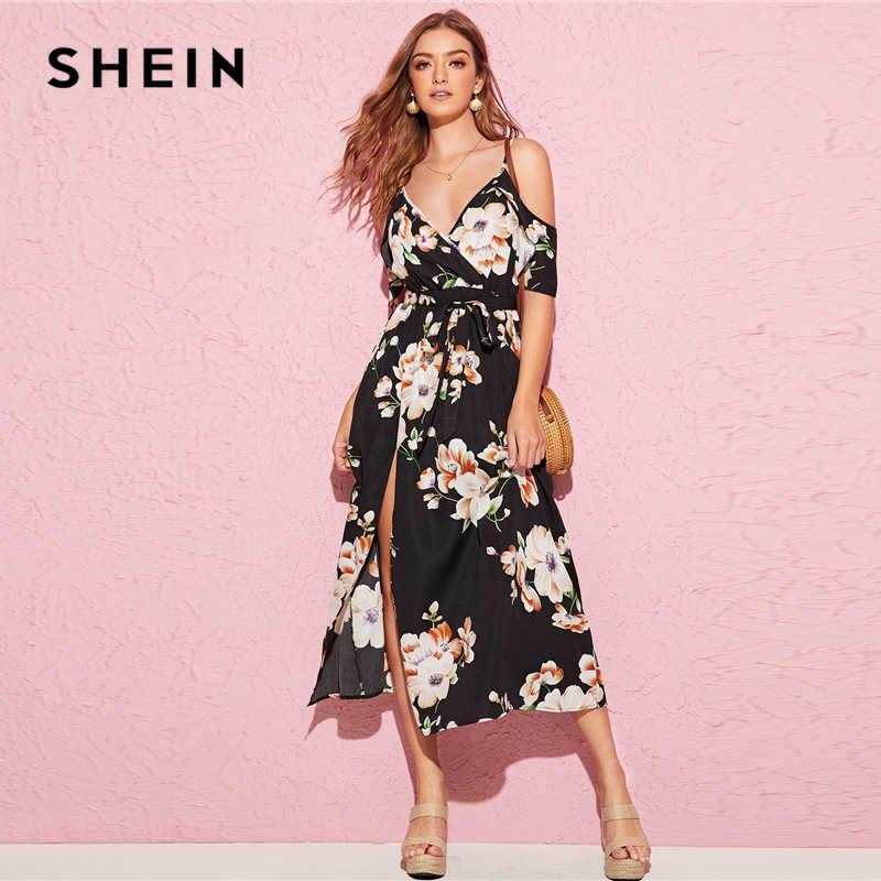 SHEIN, v-образный вырез, цветочный принт, с поясом, с разрезом, до бедра, с запахом, спереди, праздничное платье, женское, летнее, бохо, Пляжное, ТРАПЕЦИЕВИДНОЕ, с высокой талией, длинное платье