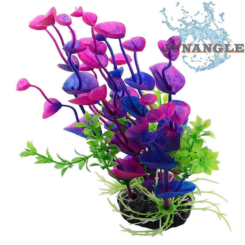 胡シミュレーションプラスチック水草植物水槽亀造園偽背景紫色の葉草水槽の装飾