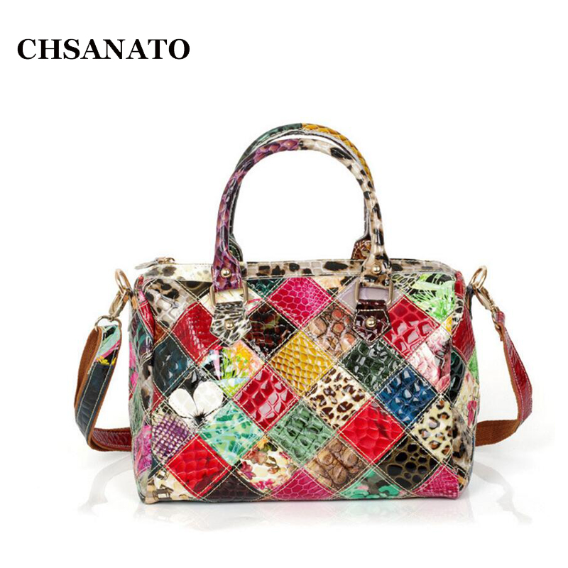 CHASANTO Snake Print Patent Leather Women Boston Bags Ladies Luxury Handbags Casual Shoulder Messenger Bags Sac