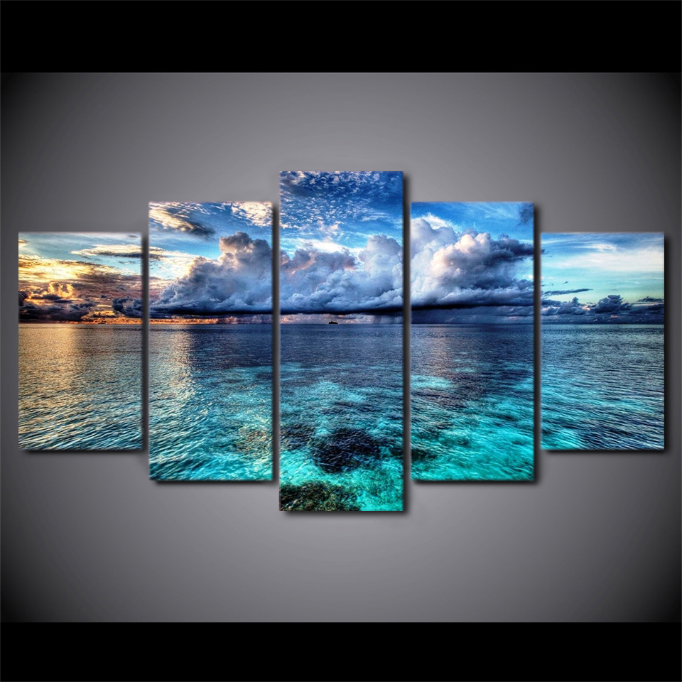 5 pz/set 5d Diamante Ricamo Spiaggia Paesaggi Marini Pittura Diamante 3d Punto Croce Mosaico Modello Quadrato Strass Decor trittico
