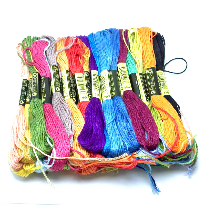Brand New Set Of 15 Lucky-Dip Colours Embroidery Threads Floss Mixed Colours