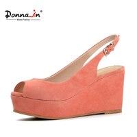 Donna-trong năm 2017 summer new open toe platform da cừu màu hồng giày da lộn cao gót wedge genuine nữ da dép