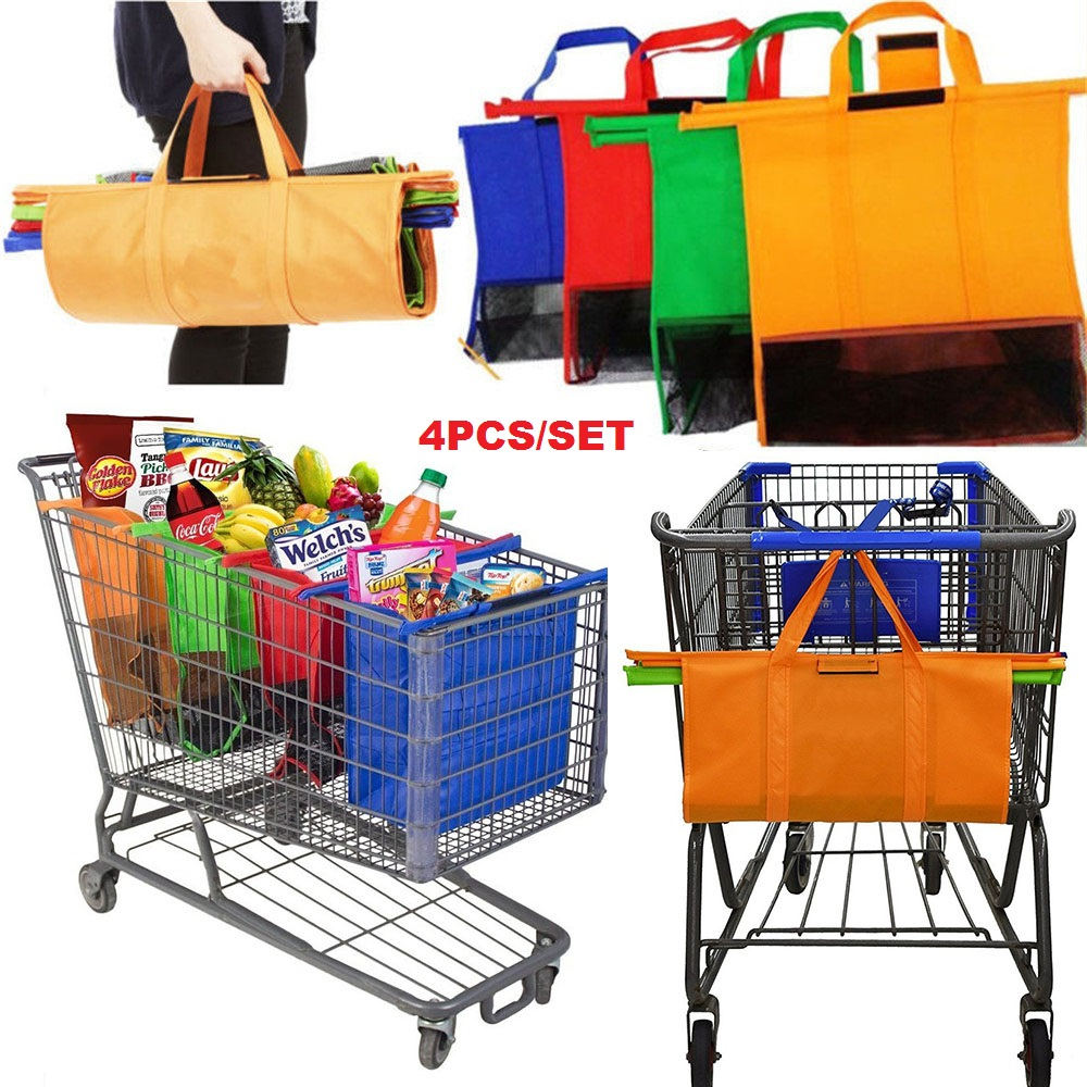 Cart Trolley Supermarket Shopping Bag Grocery Grab Shopping Bags Foldable Tote Eco-friendly Reusable Supermarket Bags 4pcs/set