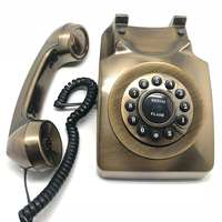 Bronze Vintage Retro Antique Telephone Wired Cored Landline Swivel Plate Rotary Dial Phone Home Office Hotel Desk Decoration