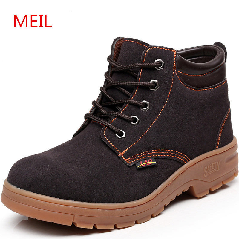 MEIL Leather Men Boots Winter Shoes men Ankle Boot Men's Snow Work boots Steel Toe Warm with Plush Fur Safety Shoes цены онлайн