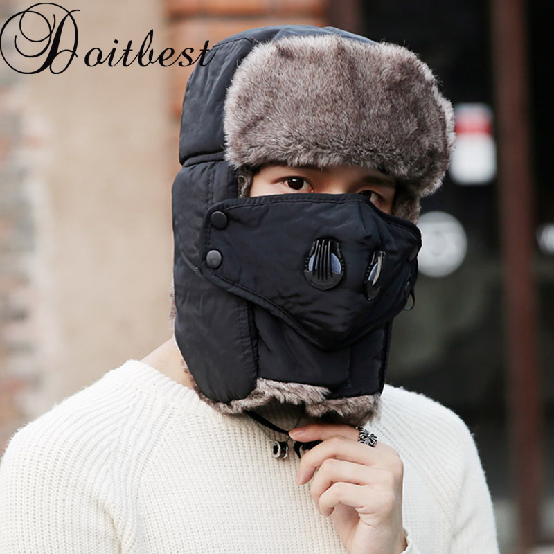 Doitbest Prevent Fog Haze Winter Fur Men's Bomber Hats Windproof Thick Warm Snow Women Cap Face Mask Russian Earflap Ushanka Hat(China)