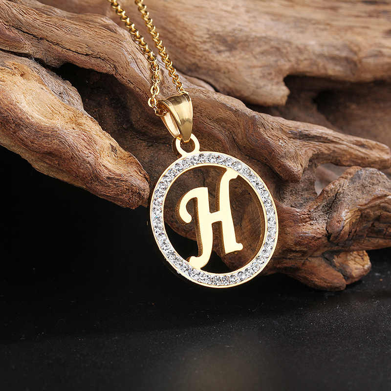 Jewelry Sets Letter H Necklace Gold Color Initial Pendant Link Chain Alphabet Earrings Sets For Women Girls Best Christmas Gift