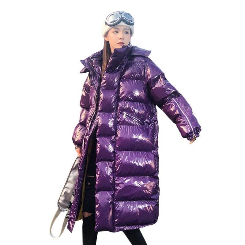 2019 Winter Jacket Women Glossy Hooded Long Parka Female Outwear Fashion Street Style Thicken Down Padded Coats Ladies