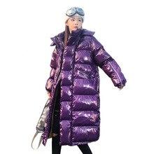 2019 Winter Jacket Women Glossy Hooded Long Parka Female Outwear Fashion Street