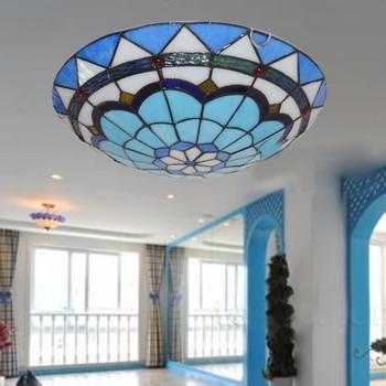 Stile Mediterraneo Tiffany Barocco Blu Stained Glass Pastorale Rotondo Di Arte HA CONDOTTO LA Luce Di Soffitto Per La Camera Da Letto Corridoio Lampada