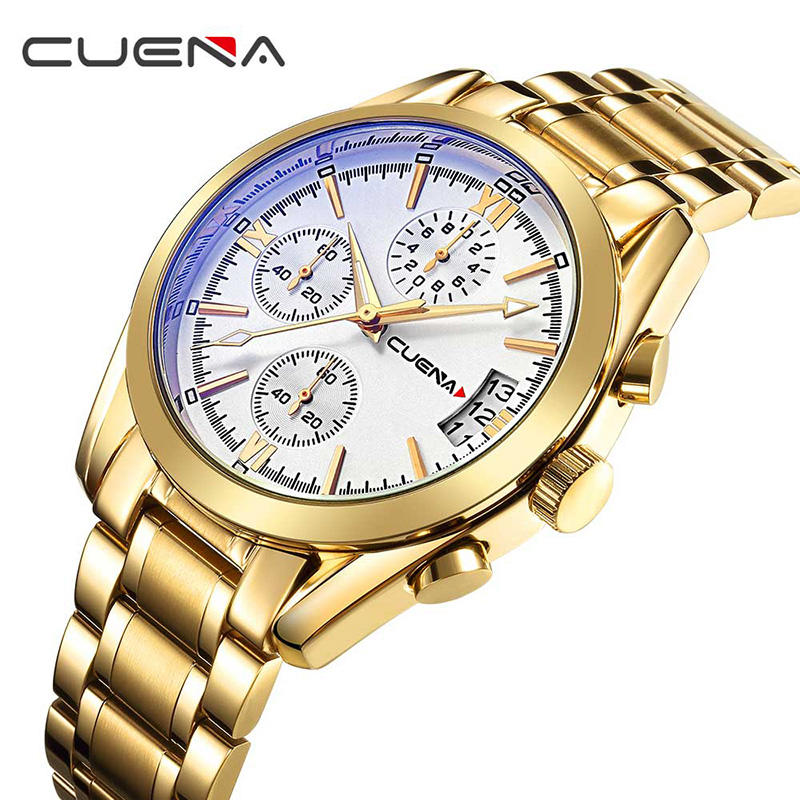 CUENA Fashion Men Quartz Wrist Watch Mens Watches Top Brand Luxury Stainless Steel Waterproof Wristwatches Man Relogio Masculino luxury watches mens stainless steel bracelet wrist watch men top brand large dial analog quartz watches relogio masculino zer