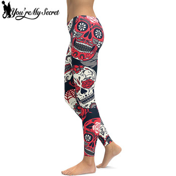 [You're My Secret] Skull Red Flowers Leggings Sexy Rose 3D Digital Printed Women Leggins Fitness Soft Slim Mujer Workout Pants 1