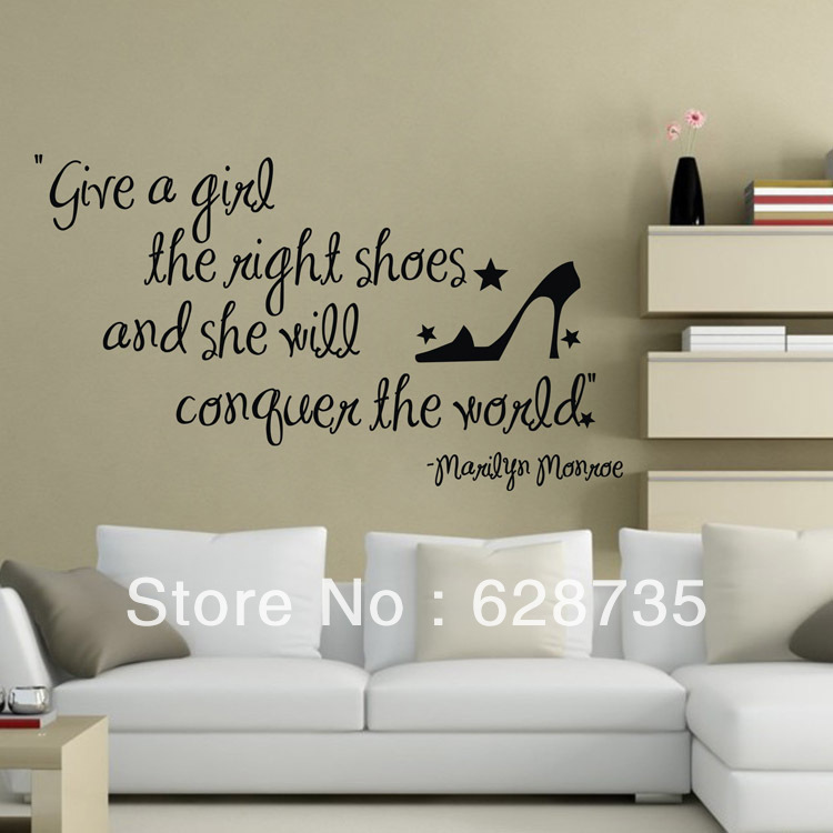 Large Size Give A The Right Shoes Marilyn Monroe Wall Decal Quotes