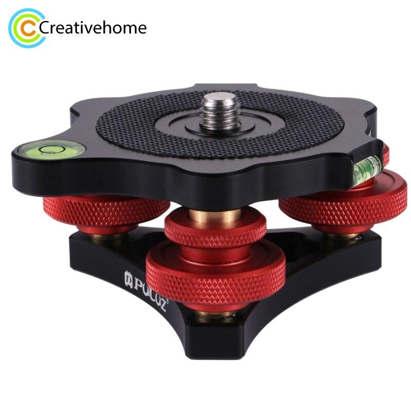 цена на PULUZ DSLR Camera Leveling Base Head Tri-wheel Aluminum Alloy Adjustment Dials Leveling Base Ball Head for Camera Tripod Head