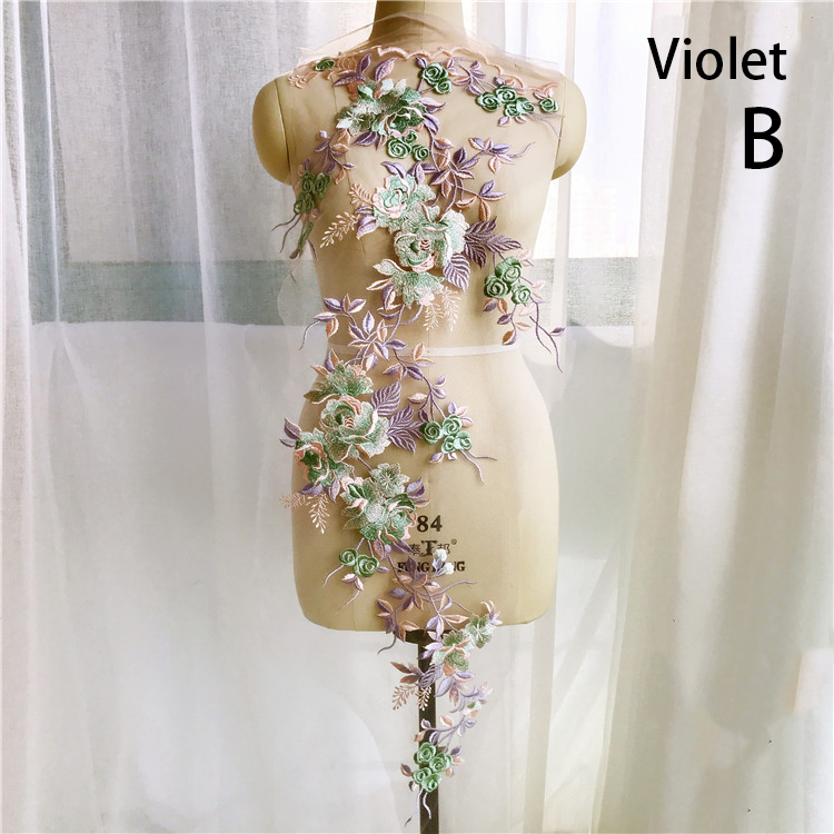 211e0df40 1Pcs Flower Embroidery Organza Lace Applique Patches Floral Sew On Patch  Costume For Wedding Evening