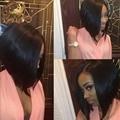 Cordón del pelo humano pelucas corto bob glueless brasileño de la virgen peluca de pelo corto pelucas delanteras del cordón negro women 130% del pelo del bebé