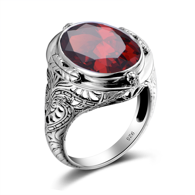 925 Sterling Silver Ring Vintage Carved Flower Created Ruby CZ Aquamarine Precious Stone Men Cocktail Finger Ring Fine Jewelry