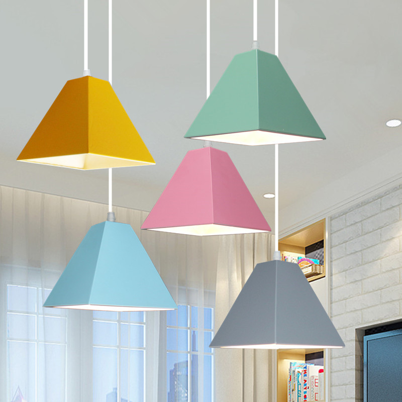Nordic Modern LED macaron Pendant Light Creatice geometric Style E27 Pendant Lamp hanging lamps For Dining Room Home LightingNordic Modern LED macaron Pendant Light Creatice geometric Style E27 Pendant Lamp hanging lamps For Dining Room Home Lighting