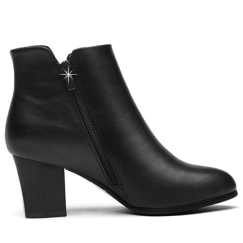 נשים של מגפי צ 'לסי שחור קרסול מגפי אישה עבה גבוהה העקב עגול הבוהן חורף אמיתי עור נעלי YG-A0026