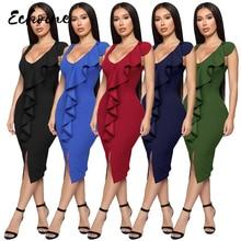 Echoine Women Sexy O Neck Ruffles Tank Front Split Bodycon Elegant Dress Summer Black/Army Green Sleeveless Midi Office Dresses