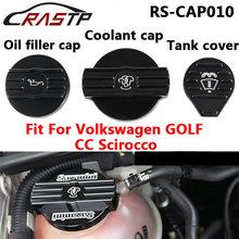 RASTP-Aluminum Black Oil Filler Cap Coolant Water Tank Cover for Audi Volkswgen CC with Logo RS-CAP010