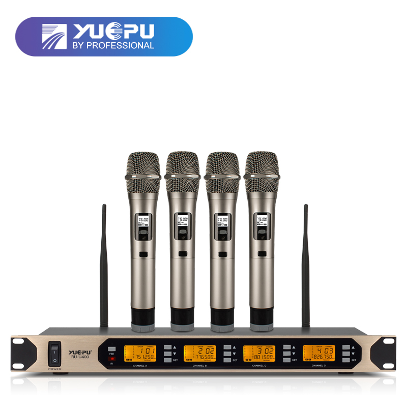 High Quality! YUEPU RU-U400 4 Channels Karaoke Microphone Wireless Professional System for Conference Stage Simultaneously Use hot sale top quality true diversity system 2 antenna for stage em2050 skm 9000 skm9000 wireless microphone system 2 performan