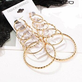 45cd905014c6 De moda pendiente de Aro para mujeres 5 pares de Color oro redondo círculo  lazo criollo pendientes Punk Clip de oreja mujer diseñador joyería