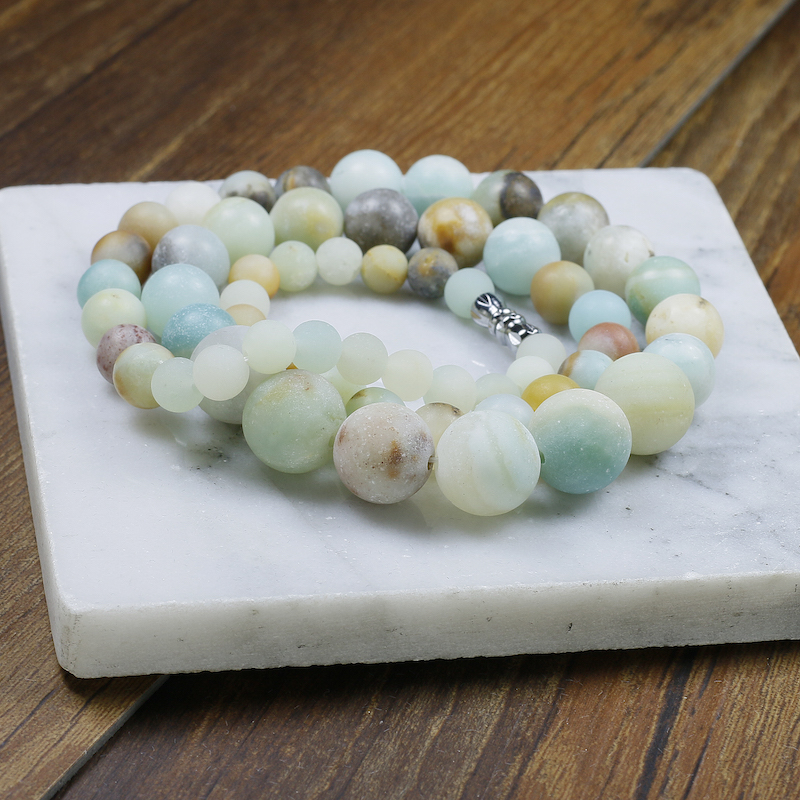 Natural 6 8 10 12mm Amazonite Stones Beads Necklace High End Dropshipping Jewelry Women Vintage Yoga Gifts Multan