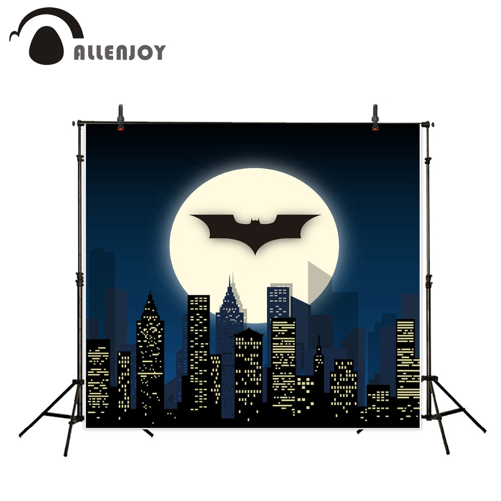 все цены на Allenjoy photography backdrop Super Hero City Night Moon Bat Children Party Background decoration photocall for photography онлайн