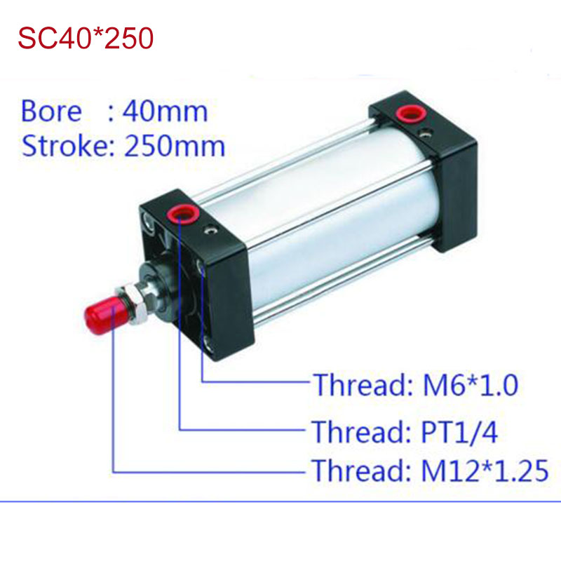 цена на SC40*250 Free shipping Standard air cylinders valve 40mm bore 250mm stroke SC40*250 single rod double acting pneumatic cylinder